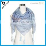 most popular tribal printing cotton square scarf with tassel                                                                         Quality Choice