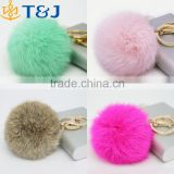>>>Hot Sales 8CM Super Round Metal Key Chain Real Rabbit Hair Bulb Fur Plush Ball Bag Car Ornaments Pendant Key Ring/