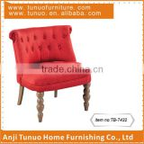 Mini sofa chair with velvet material and Assembled black color rubber wood legs, with buttons on the back cushion.TB-7432