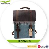 Fashion Canvas Leather School Backpack Rucksack 15.6-inch Laptop Backpack