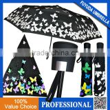 2017 New Beautiful Colorful Butterfly Printing Automatic 3 Fold Colour Changing Portable Umbrella