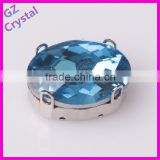 Oval shape sky blue crystal decorative sew on stones for clothes