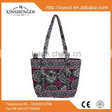 F1A tote bags ,zippered shoulder bags, wholesale floral print 100% cotton quilted fabric handbags