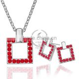 18KRG platinum plated rhinestone crystal red square pendant charm DIY supplies earrings and necklace jewelry set PS188
