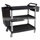 Hotel Supply Stainless Steel Movable kitchen storage trolley clearance black kitchen trolley with basket facial trolley car C260