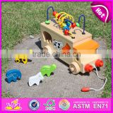 2015 Multifunction wooden pull and push toy for kids,Lovely wooden toy pull for children,Hot sale wooden baby car toy W05B074-A1