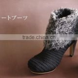 Preminum and High quality fashion high heel shoes boots with comfortable fabric made in Japan
