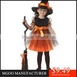 MGOO 2015 Stock Fast Shipping Kids Halloween Costumes Festival Cute Pumpkin Party Dress TT002