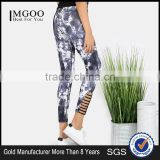 New Design Cut Out Women Fitness Joggers NAVY 95% Polyester 5% Spandex Custom Digital Print Jogging Skinny Pants