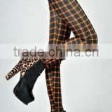 2014 New Fashion retro yellow plaid leggings seamless pantyhose Slim thin section