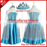 Free Shipping Movie Princess Frozen Elsa Dress for Girls Cosplay Costume Elsa Costume For Kids girls Includes Crown Christmas