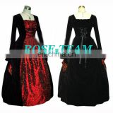 Rose Team-Free Shipping Custom-made Elegant Long Sleeve Victorian Dress Costume Gothic Dress Ball Gown