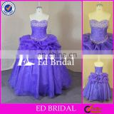 F213 Real Sample Crystal Beaded Bust Sweetheart Ruffled Organza Purple Western Quinceanera Dresses