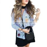 CH082 OEM service floral embroidered striped long sleeve casual blouse for women