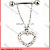 Crystalline Paved Gem Heart Dangle Nipple Shield body piercing jewelry rings in stainless steel