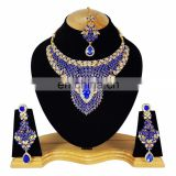 Indian Designer Gold Plated Bollywood Pary wear Jewelry Necklace Set Blue Color