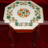 Marble Inlay Small Coffee Table Top