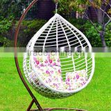 Modern patio furniture swing rattan egg chair with cushion, comfortable wicker outdoor furniture