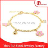 Wholesale Stainless Steel Expandable Enamel Flower Bangle