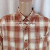 Polycotton multicolor plaid button-down casual shirt with pacth pocket mens short sleeve workwear shirt