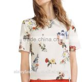 women sweet floral print loose shirts o neck short sleeve blouse European style ladies summer fashion casual tops B032