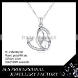 Sterling silver 925 AAA CZ micro paved jewelry for lover beautiful heart necklace 2016