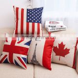 Modern Style US UK Canada National Flag Linen Cotton Cushion Cover For Sofa Car Bed Seat Pillow Case