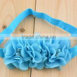 Wholesale 18color Elastic Headband with 3pcs rhinestone pearls flower, sewing chiffon flowers hair band in Europe