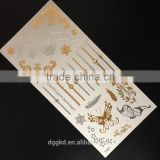 high quality gold sticker and silver flash custom metallic temporary tattoos gold temporary tattoos