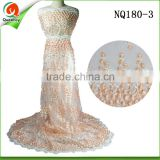 NQ180-3 beaded peach african lace fabrics embroidered design tulle lace french lace