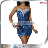 guangzhou garment factory in vietnam ladies designer denim dresses women jeans tight sexy dress strapless dress