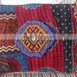 Handmade kantha vintage bag with afghani beads patch