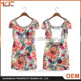 OEM manufacturer fashion latest design lady summer beaded O-neck short Sleeve cotton sleeveless women dresses for party
