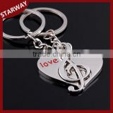New Arrival promotional metal music symbol heart couple Keychain/