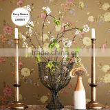 sale deep embossed vinyl wallpaper, truffle pastoral flower wall decor for basement , mould-proof wallcovering distributor