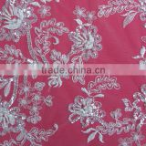 Fancy Rhinestones Pearl Beaded Mesh Embroidery Lace