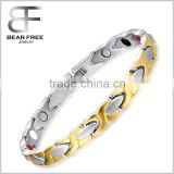Gold silver two tones 4 in 1 bio health magnetic bracelet, Stainless Steel Power Band Bracelets