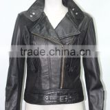 Ladies Short Black 4110 Fitted waist Length Soft Napa Lambskin Leather jacket