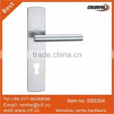 Hollow Stainless steel lever handle on plate, stainless steel door handle with plate,Inox door handle