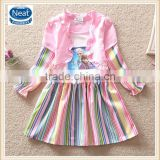 (LD0531) 2-8y frozen wholesale elsa anna dress fashionable dresses princess dress child party stripe girl dresses
