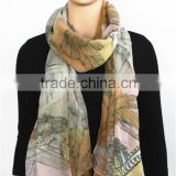 Leaves Printed Viscose Scarf