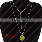 LJ0134 Snap button necklace fashion jewelry,trendy western long chain alloy necklace,button charm initial jewelry