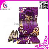 Fashion wax set design WBS-0024 purple color wax and bag mathing shoes for big wedding or party