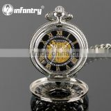 PACIFISTOR Classic Mens Skeleton Mechanical Roman Pocket Chain Watch 2015 New Luxury Pendant