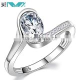 White CZ 925 Solid Sterling Silver Wedding Band Engagement Ring