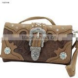 CROSS BODY STYLE WESTERN BUCKLE RHINESTONE WOMEN WALLETS