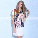 2016 Women Graffiti Print Ink Design Office Lady Dresses Round Neck Short Sleeve Back Zipper Elegant Slim Ladies Summer Dress