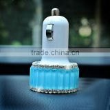 Hot selling diamond bling car charger for iphone samsung HTC cell phone tablet Rhinestone dual usb slot