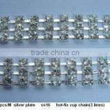 ss16 3 rows hot-fix rhinestone Cup Chain