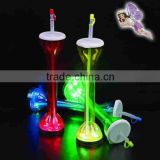 LED flashing cup bottle with straw/LED PS/Plastic bottle with straw/pipet for party, bar, pub, club cup